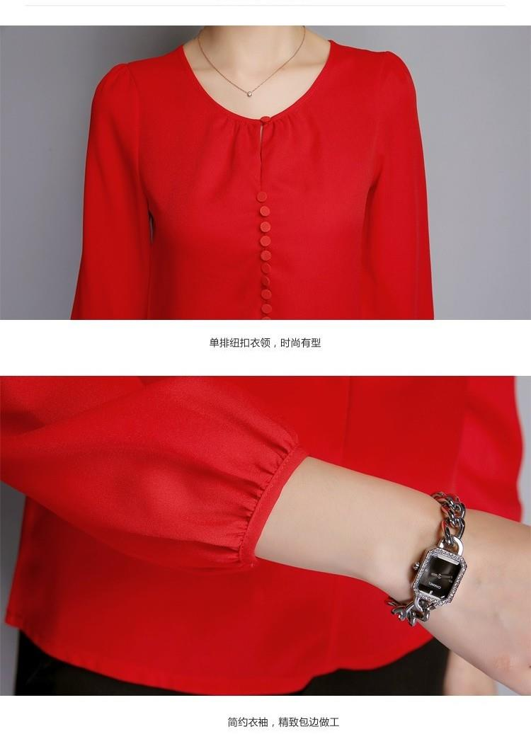 Plus Size Women Blouses Long Sleeve Autumn Chiffon