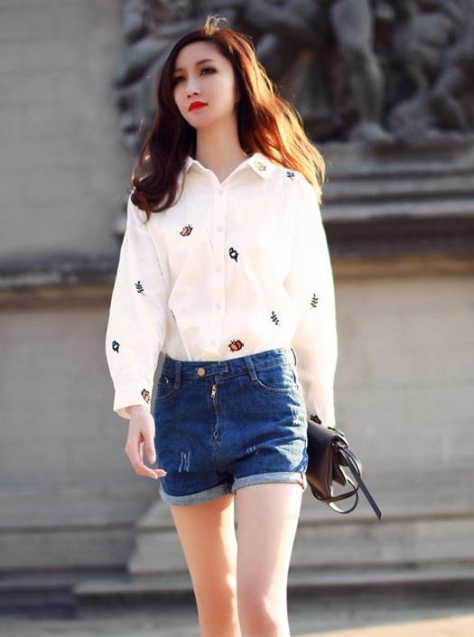 [PM-1493-5647] Korean Elegant Woman Casual Travel Holiday Top White