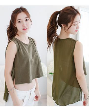 [PM-1615-5971-FS] Korean Elegant Woman Casual Travel Sexy Top Green