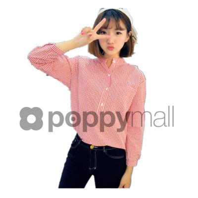 [PM-1769-6525] Elegant Working Office Wear Checker Top Pink