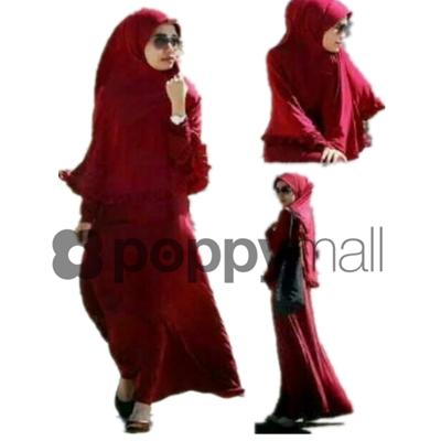 [PM-1786-1112] Women Muslimah Fashion Elegant Charming Jubah Red