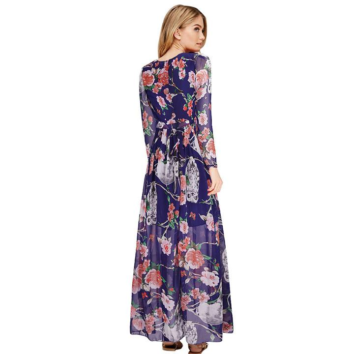 [PM3-6698B] Fashion Floral Maxi Dress Blue