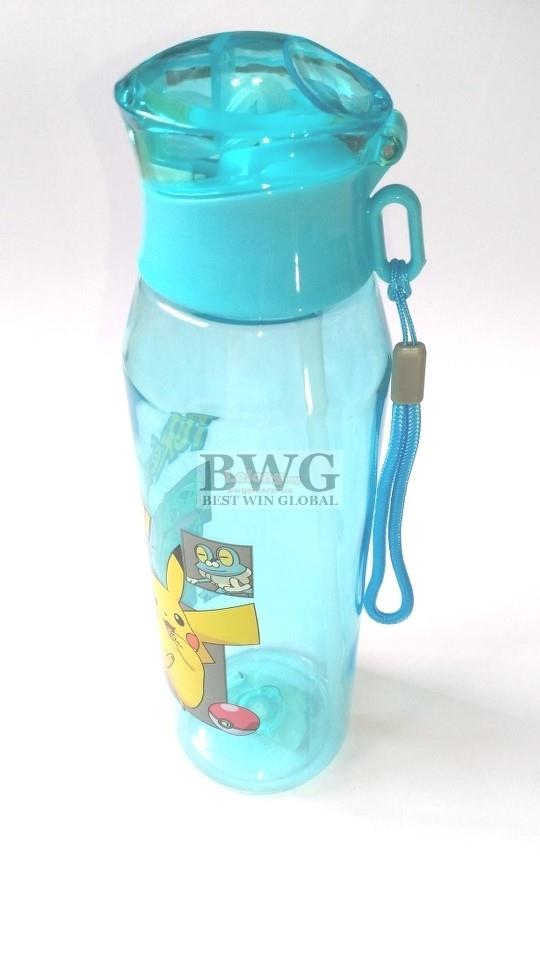 POKEMON SPORT WATER BOTTLE 700ML WITH STRAW & PUSH BUTTON CAP & STRING