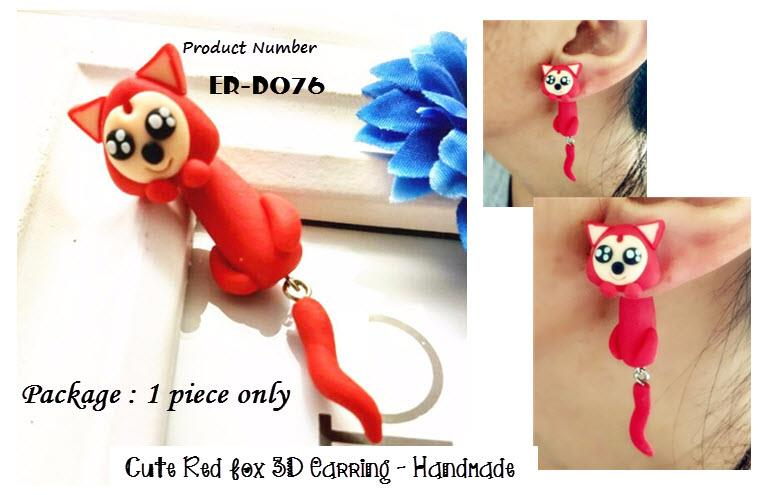 Polymer Red Fox (A) 3D Earrings -Handmade