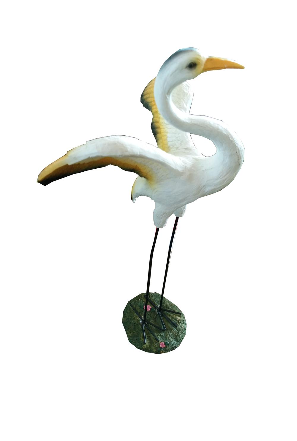 POLYRESIN STORK BIRD (OPEN WINGS) - S - YELLOW/WHITE 树脂&..