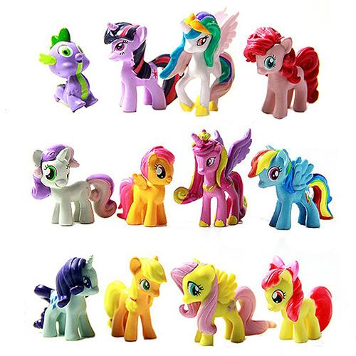 My Little Pony Action Figures 12 Horses Dolls Cake Toppers Toy Kids Pl