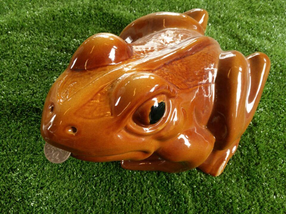 PORCELAIN LARGE  FROG COIN BOX SAVING MONEY - COCO