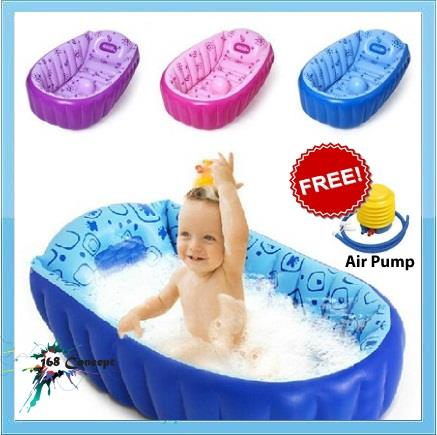 portable baby kid toddler inflatable bathtub free air pump. Black Bedroom Furniture Sets. Home Design Ideas