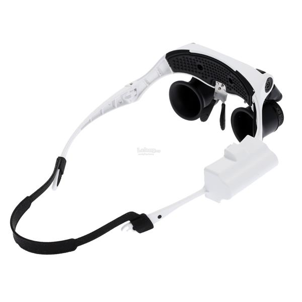 Portable Head Wearing Magnifying Glass 10X 15X 20X 25X LED Double Eye