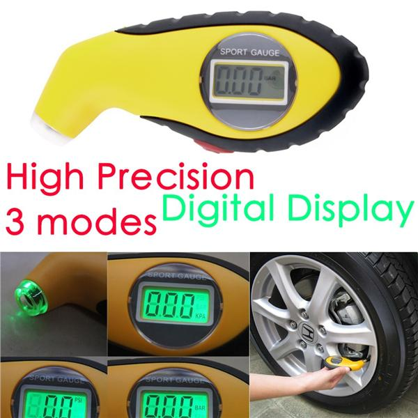 Electronic Gauges For Cars : Portable lcd digital tire tyre press end pm