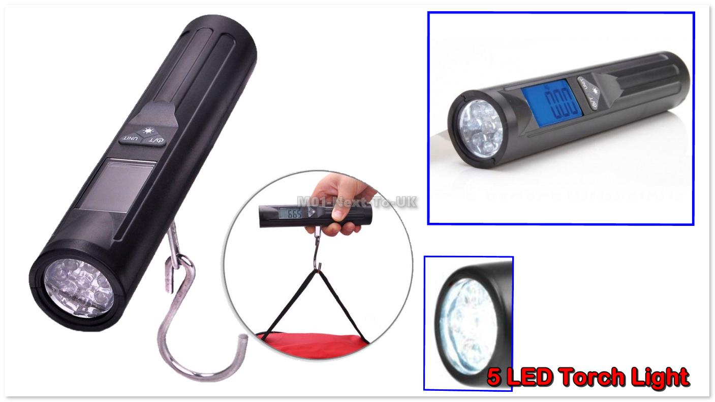 Portable Luggage Travel Scale Hanging Suitcase Hook 40kg 5 LED Torch