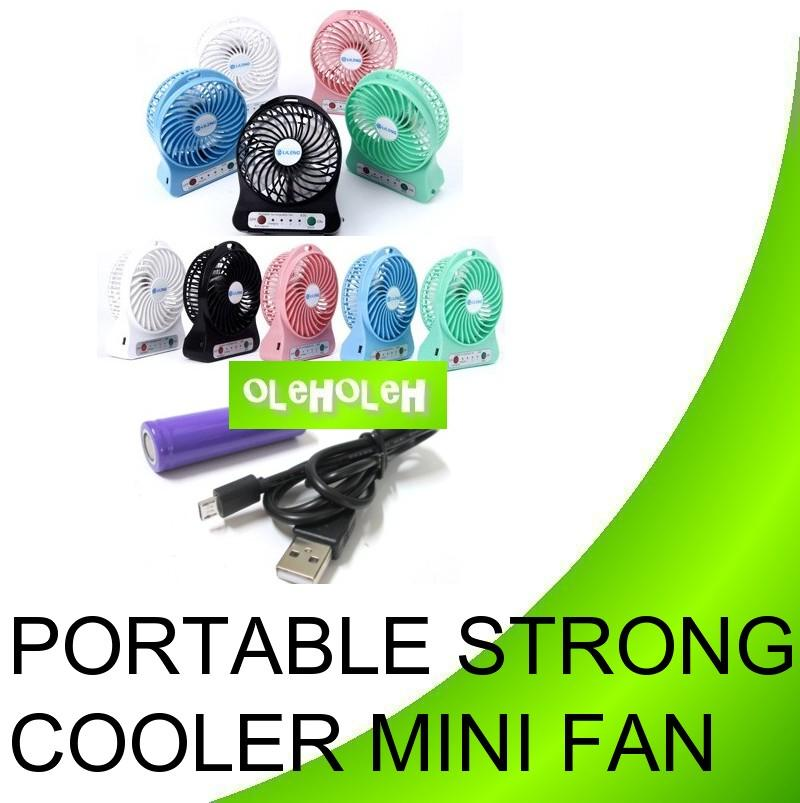 Portable Strong Cooler Mini Fan LED Light With USB Rechargeable