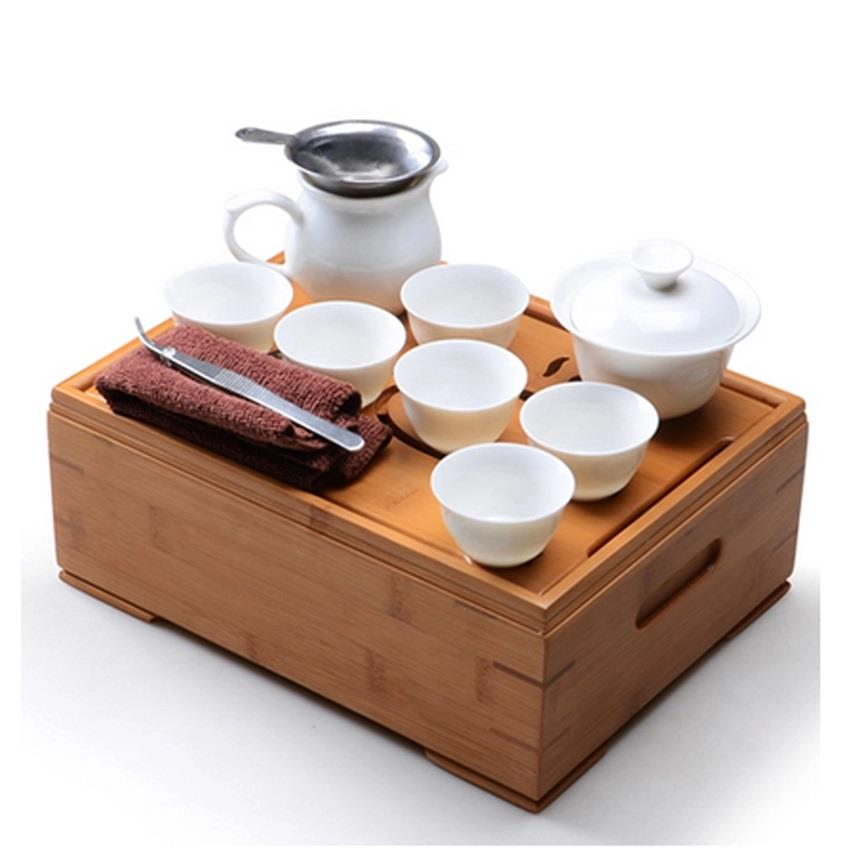 Portable Travel Tea Set Bamboo and Ceramic(12pcs)