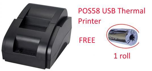 POS58 USB Thermal Printer Free 1 roll paper