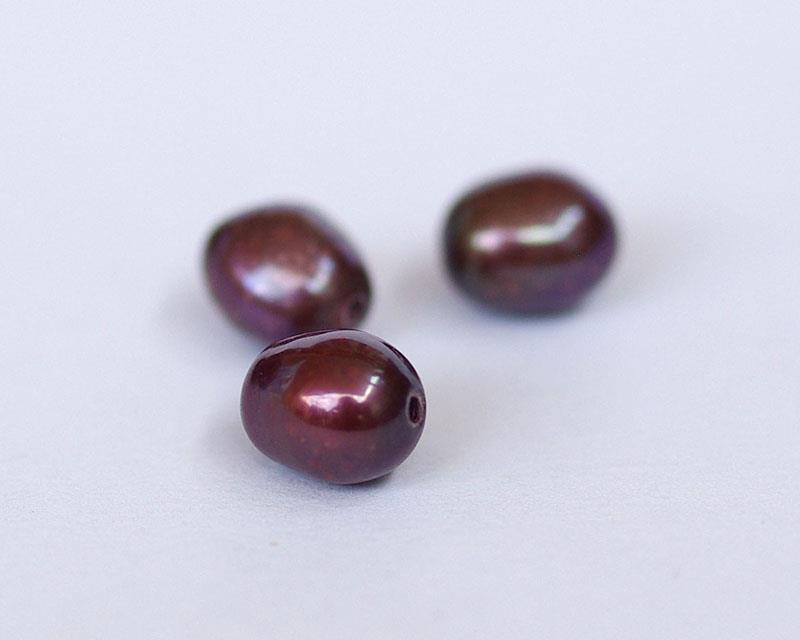 potato shape purple color natural pearl, size about 5 x 4mm (10pcs)