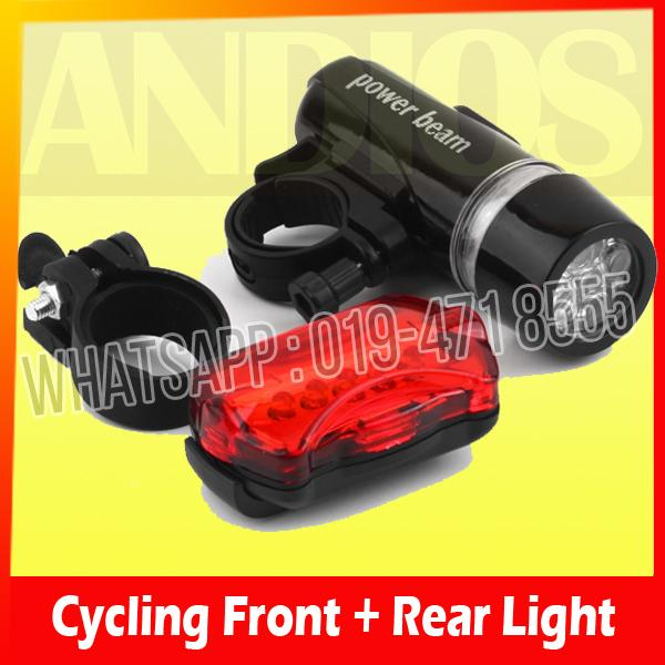 Power Beam Bicycle 5-LED Super Bright Head Torch+Rear Safety Light