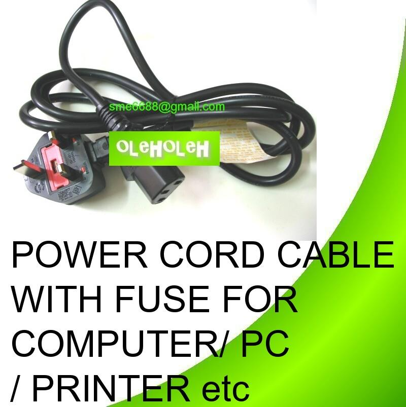 Power Cord Cable With Fuse For Computer / PC / Printer etc