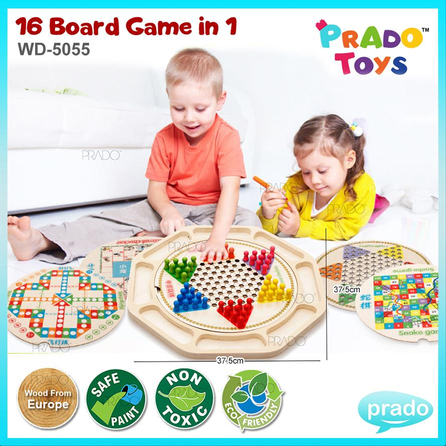 PRADO TOYS Wooden 16 Board Game in 1 Educational Learning Toy WD5055