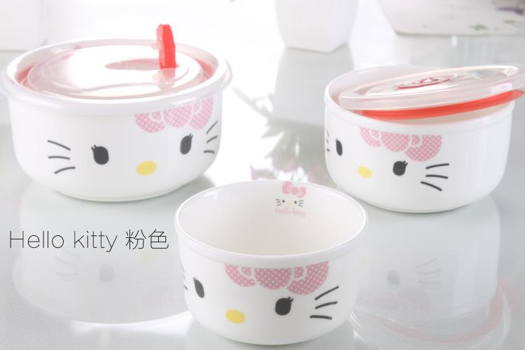 (Pre Order 1 Month) 3pcs Hello Kitty Ceramic Microwave Bowl (Pink/Red)