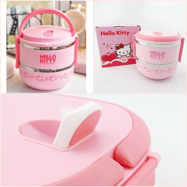 (Pre Order 1 Month) Hello Kitty 2 tiers Stainless Steel Bento Box