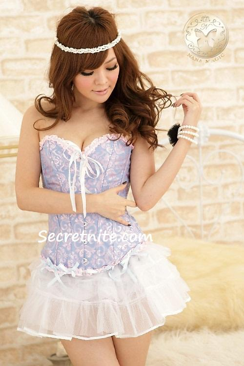 Pre Order Sexy Blue Plus Size Corset with G-string S, M, L,XL,2XL 33