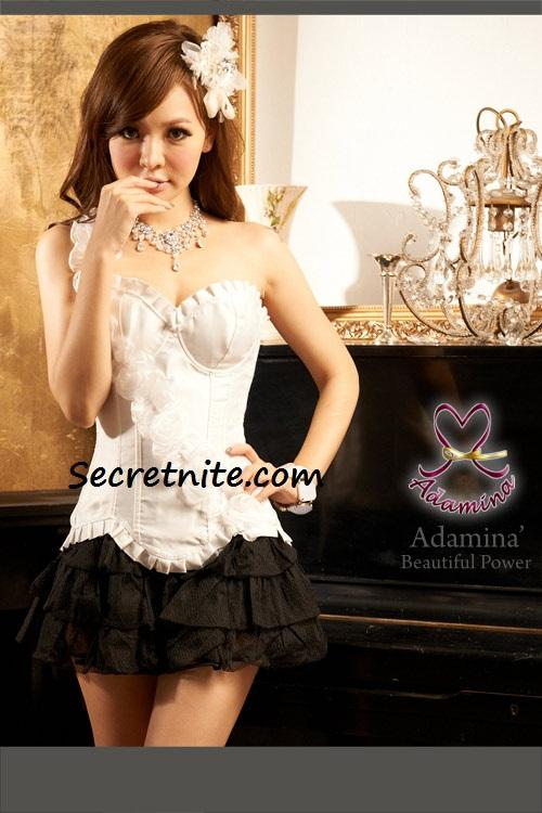 Pre Order Sexy White Plus Size Corset with G-string S, M, L,XL,2XL 59