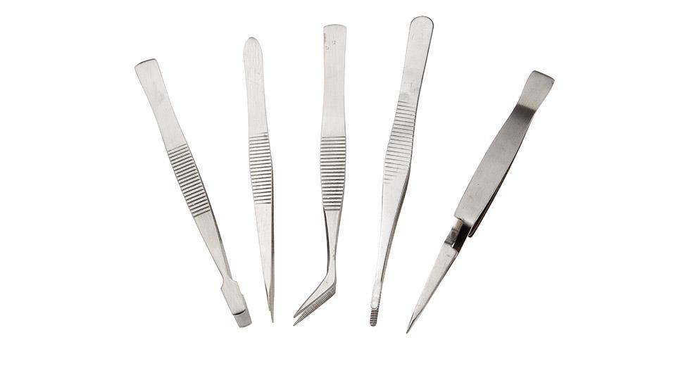 Precise Stainless Steel Tweezers (5-Pack)