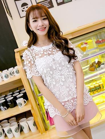 Prelove Summer 3D Lace Short-sleeved Shirt Top WHITE