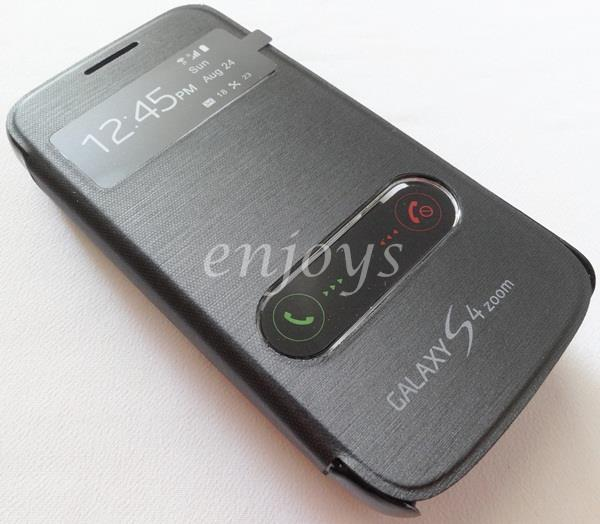 Premium Chrome BLACK S View Flip Cover Samsung Galaxy S4 zoom C1010