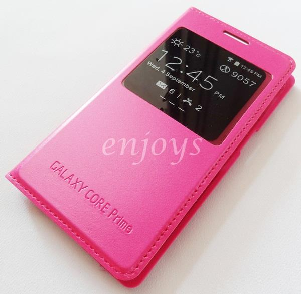Premium PINK S View Flip Case Cover Samsung Galaxy Core Prime G360H