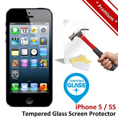 Premium Protection Apple iPhone 5 5S Tempered Glass Screen Protector
