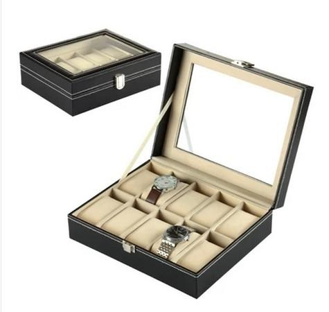 Premium PU Leather Watch Box 10 Slots Glass Top