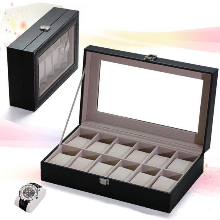 Premium PU Leather Watch Box 12 Slots Glass Top