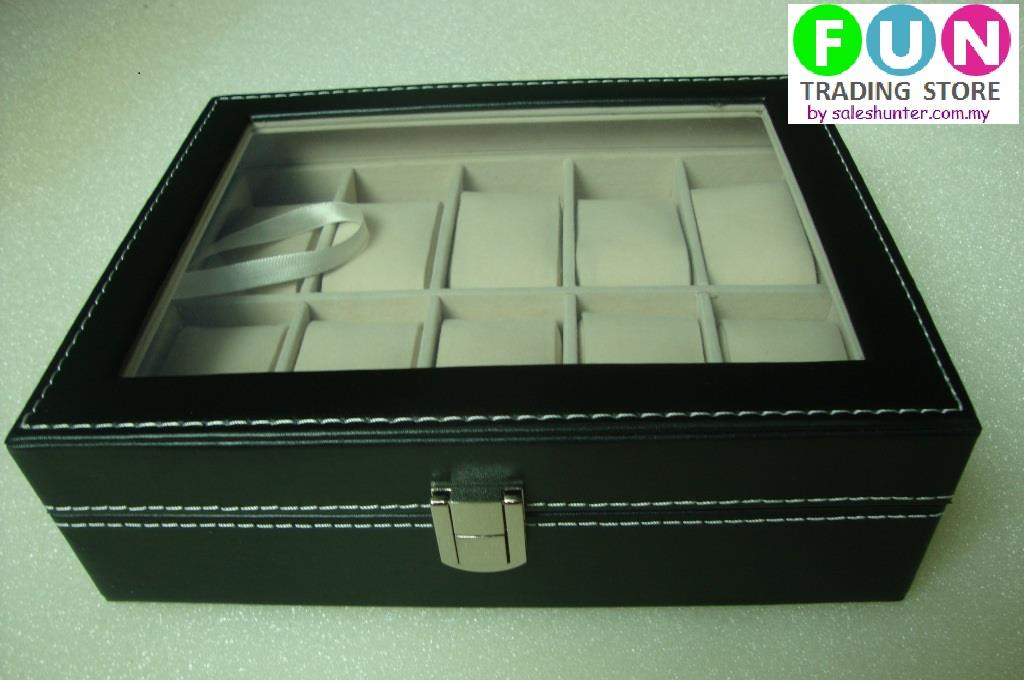 Premium PU Leather Watch Display & Storage Box Case (Glass Surface)