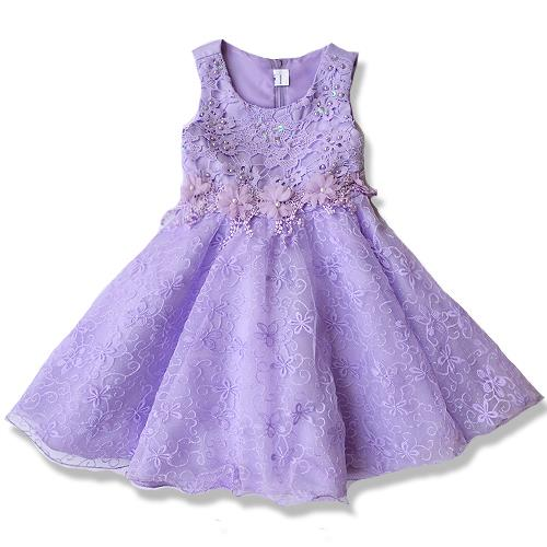 Pretty Embroidery and Lacy Dinner /Party Dress Purple