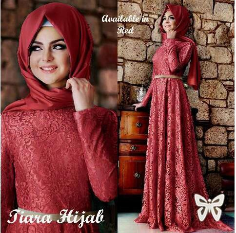 Pretty Lace Jubah Red