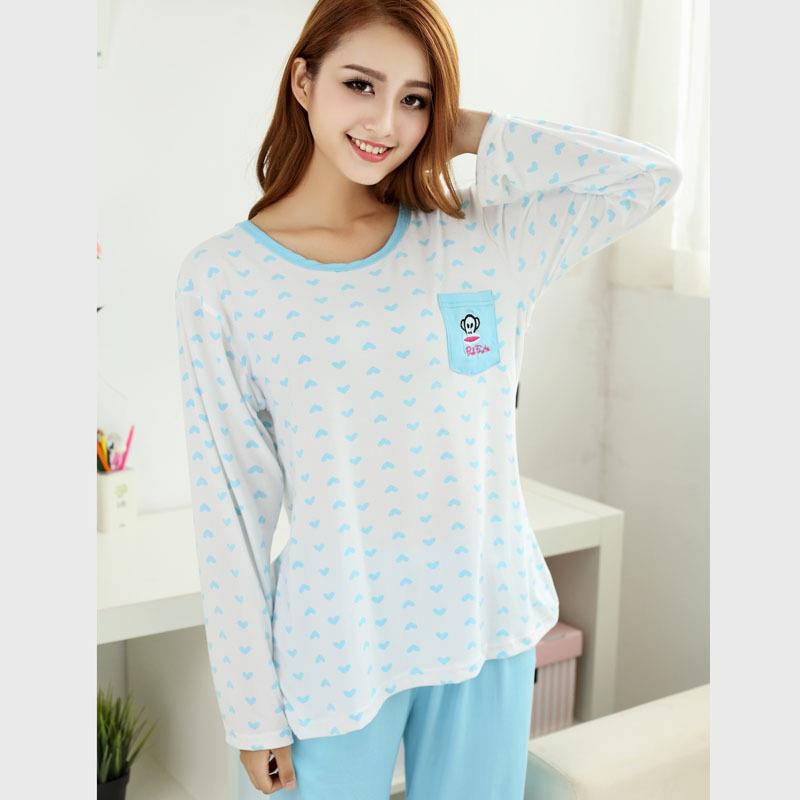 Printed Heart Long Sleeve Long Pants Sleepwear Set ( Light Blue)