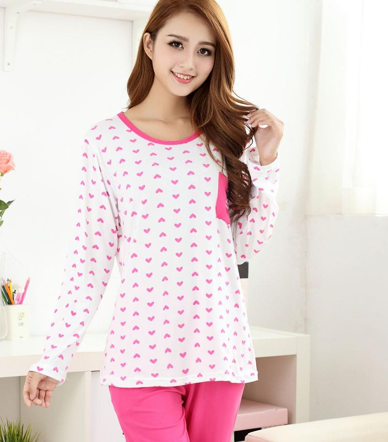 Printed Heart Long Sleeve Long Pants Sleepwear Set ( Rose Red)