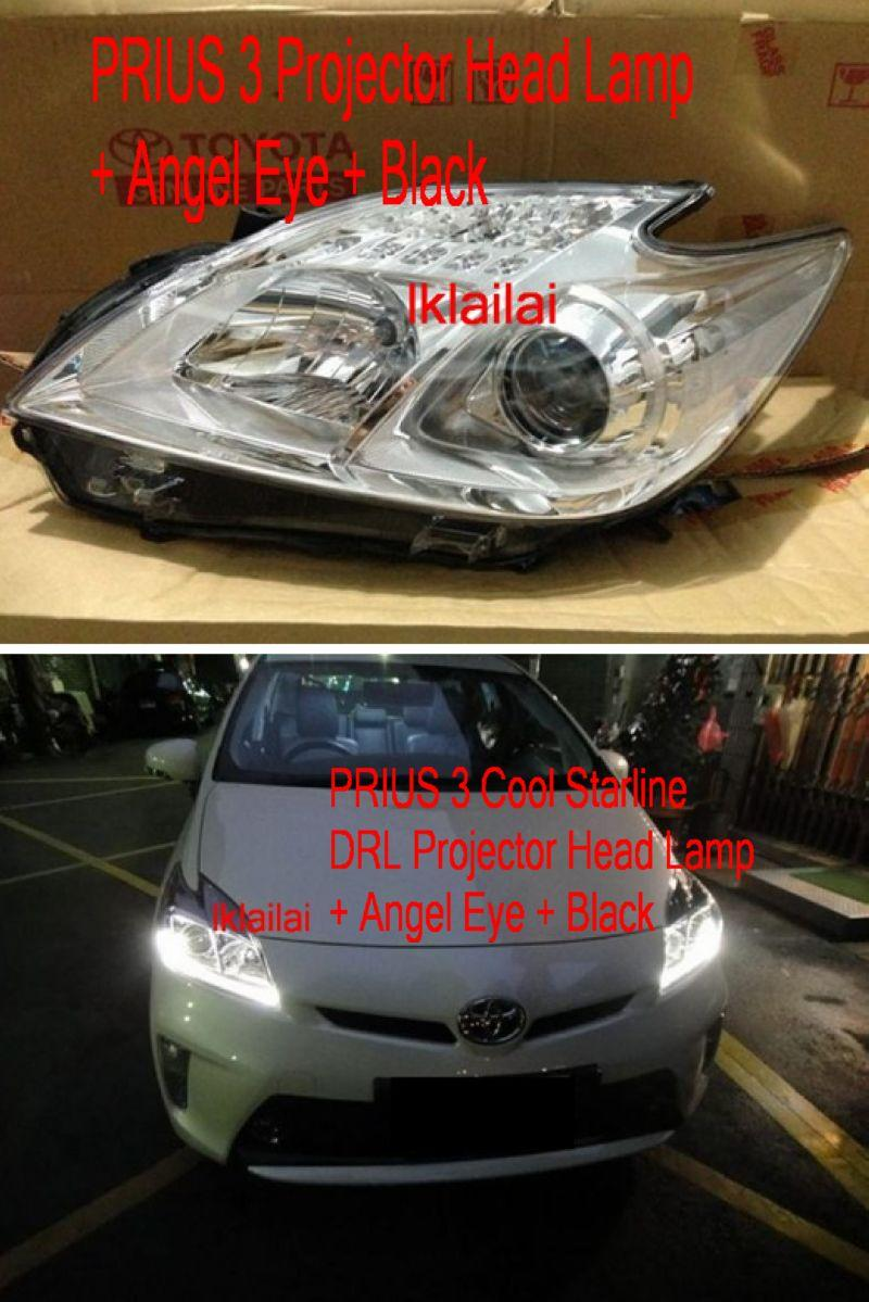PRIUS 3 Cool Starline DRL Projector Head Lamp + Angel Eye + Black