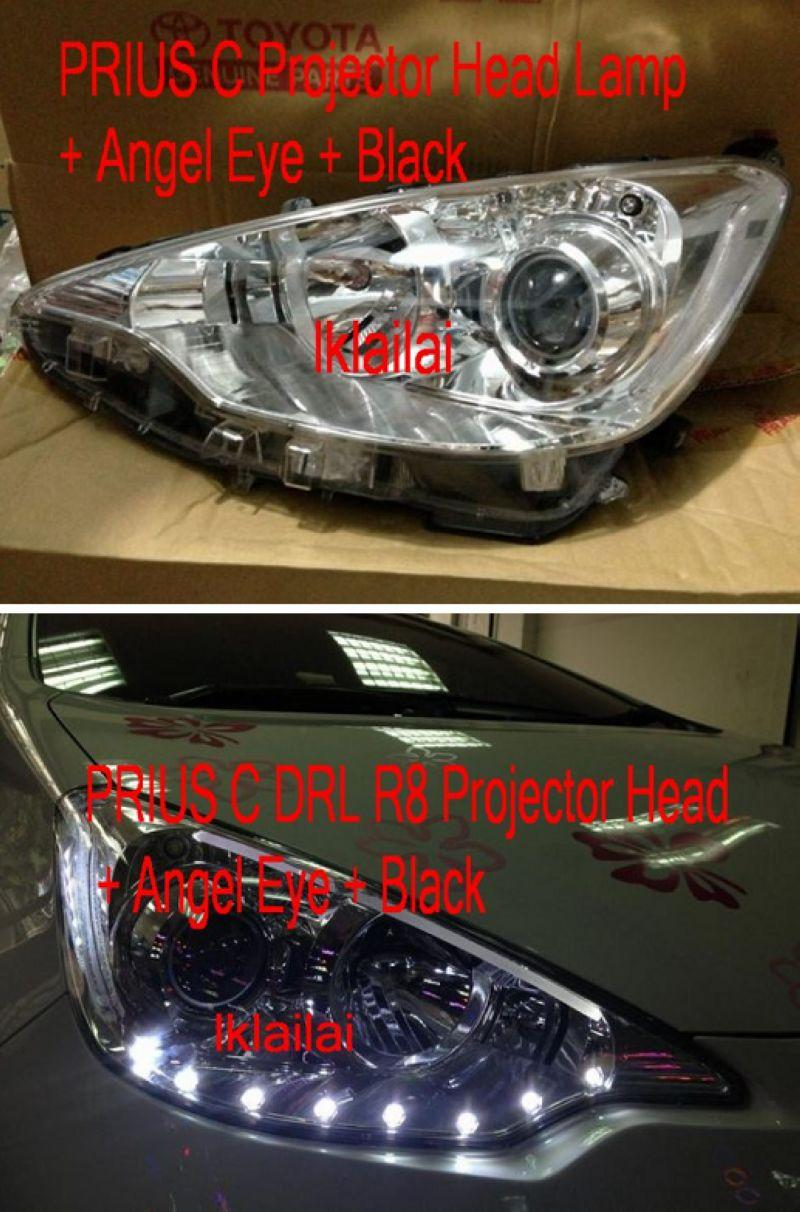 PRIUS C 2-Function DRL R8 Projector Head Lamp + Angel Eye + Black