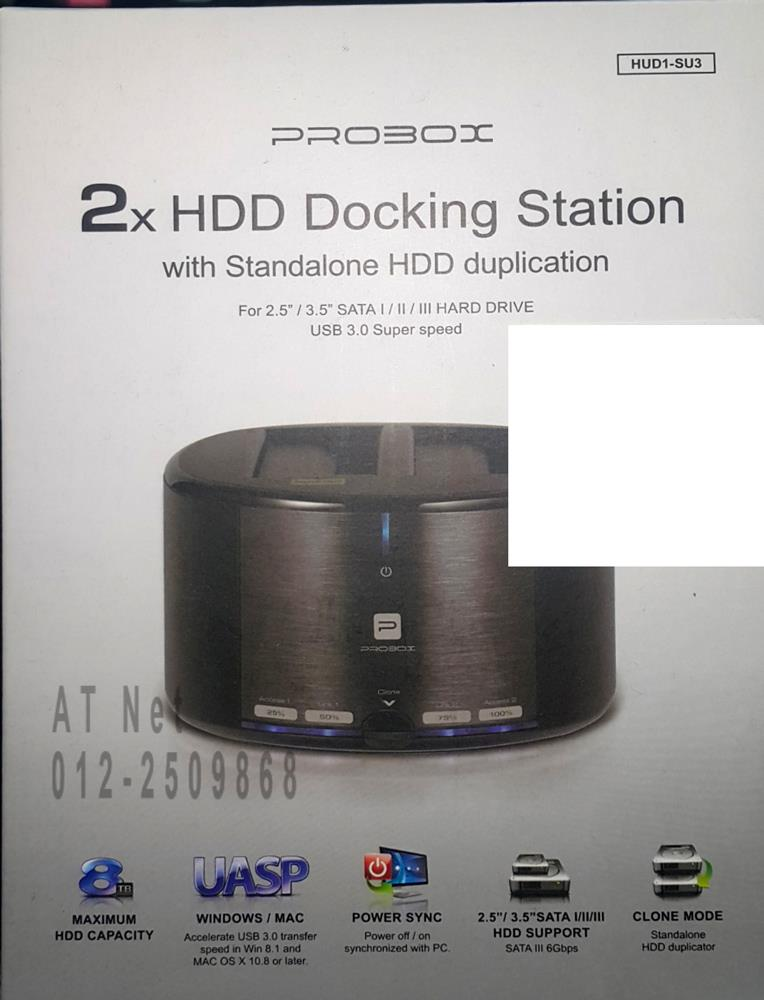 PROBOX 2 BAY USB3.0 SATA HDD DOCK WITH HDD DUPLICATION (HUD1-SU3)