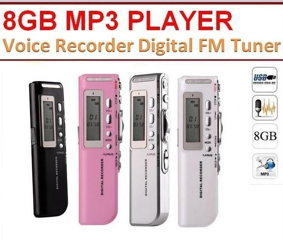 Professional 8GB MP3 Player/Voice Recorder Digital with FM Tuner