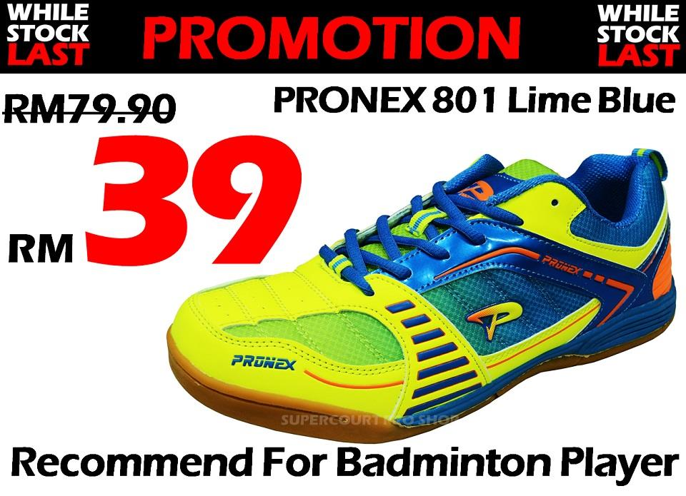 Pronex PC 801 Lime Blue Badminton Shoe (Walk in RM39)