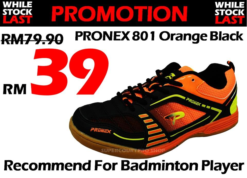 Pronex PC 801 Orange Black Badminton Shoe (Walk in RM39)