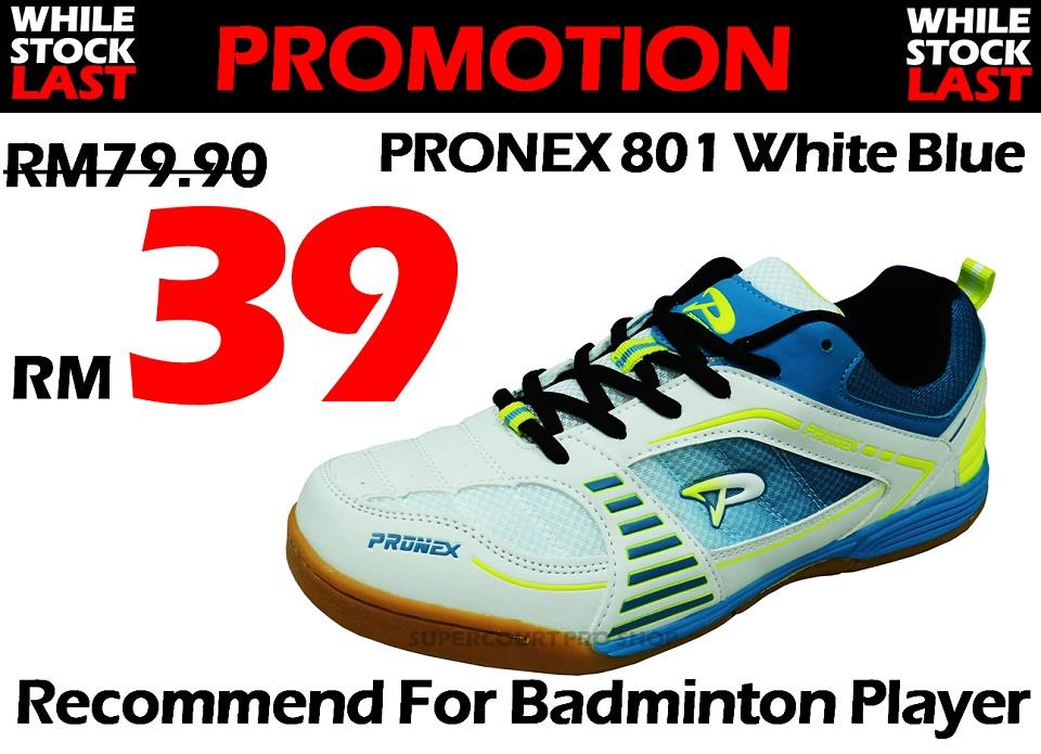 Pronex PC 801 White Blue Badminton Shoe (Walk in RM39)
