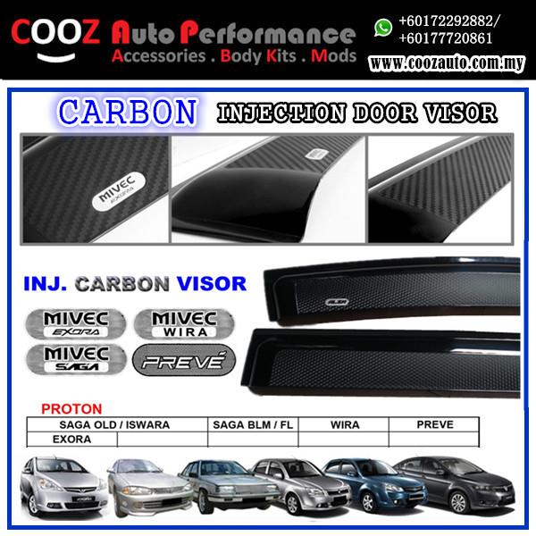 Proton Exora Sun Window Vent Door Visor (Carbon)