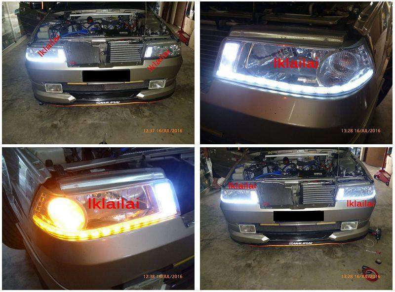 Proton Iswara LED DRL R8 with Running Signal Crystal Head Lamp Set