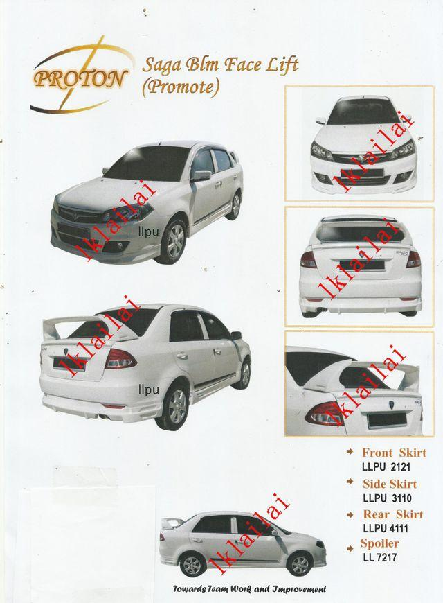 Proton Saga BLM FL PU Body Kit Promote Style [Skirt+Spoiler]Paint