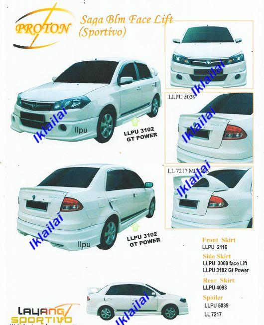 Proton Saga BLM FL Sportivo Full Set PU Material Body Kit