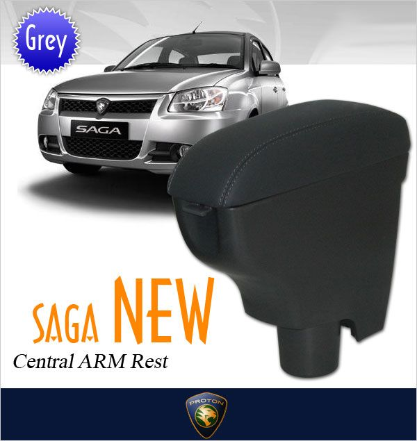 PROTON SAGA BLM/ SE Genuine Cow Leather Grey Arm Rest [002781B]